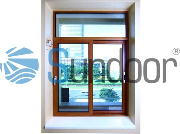 cửa sổ mở trượt 2 cánh vân gỗ xingfa