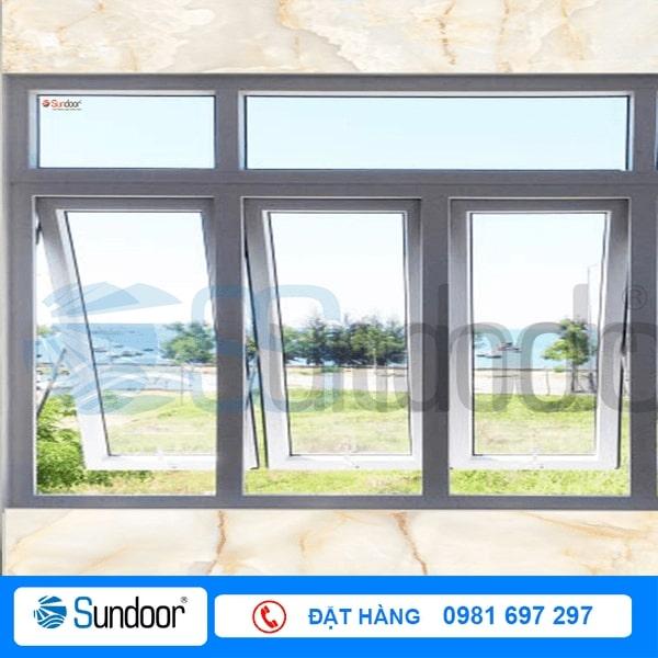 Cửa sổ mở hất 3 cánh nhôm Xingfa màu trắng