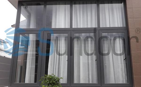 Cửa sổ 4 cánh mở quay nhôm Xingfa tem đỏ Quảng Đông