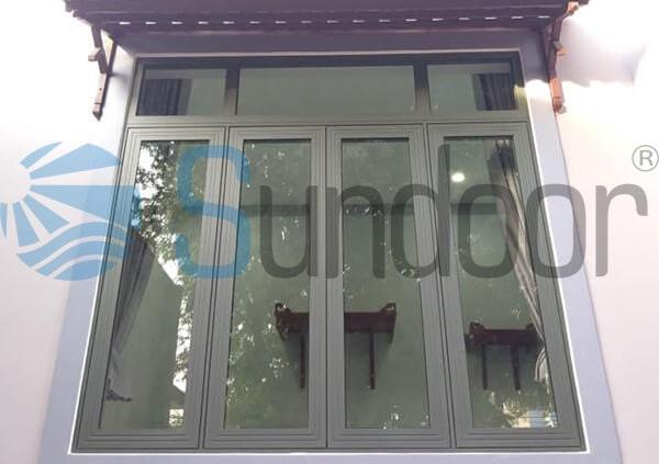 Cửa sổ nhôm Xingfa màu ghi xám 4 cánh