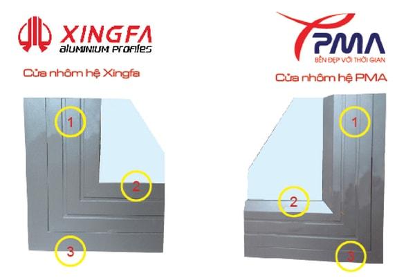 so sánh cửa nhôm Xingfa và cửa nhôm PMA
