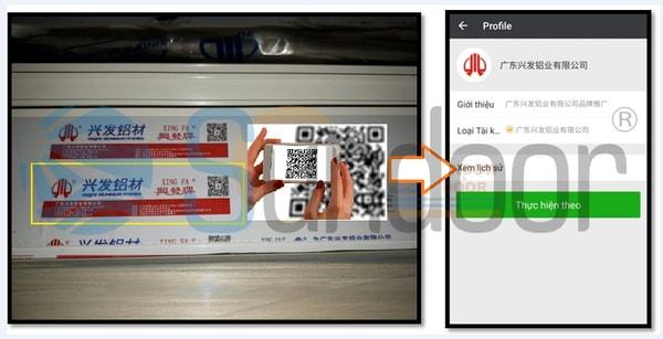 Quét mã QR tem dán điện tử trên thanh nhôm Xingfa