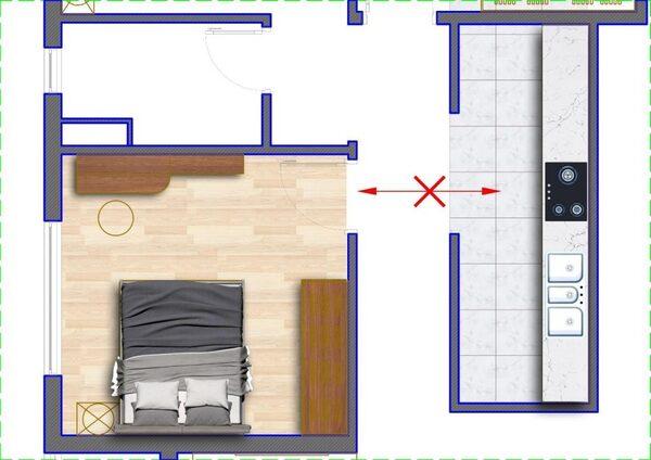 Những điều cấm kỵ khi thiết kế cửa phòng ngủ nhìn ra bếp